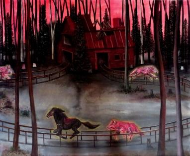Ranch rose, huile sur toile, 80x100 cm, 2014