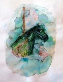 Attraction, encre, aquarelle et acrylique sur papier, 40x30 cm, 2010