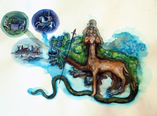 Bête de l'apocalypse 2, techniques mixtes sur papier, 30x40 cm, 2014