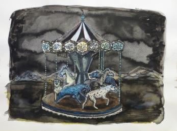 Carrousel, encre et acrylique sur papier, 40x50 cm, 2014 (collection privée)