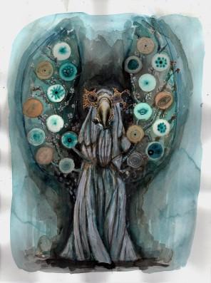 Céleste 3, technique mixte sur papier, 40x30 cm, 2015