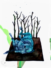 Cheval bleu, encre et aquarelle sur papier, 40x30 cm, 2010