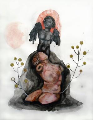 Cupidon, techniques mixtes sur papier, 65x50 m, 2011(collection privée)