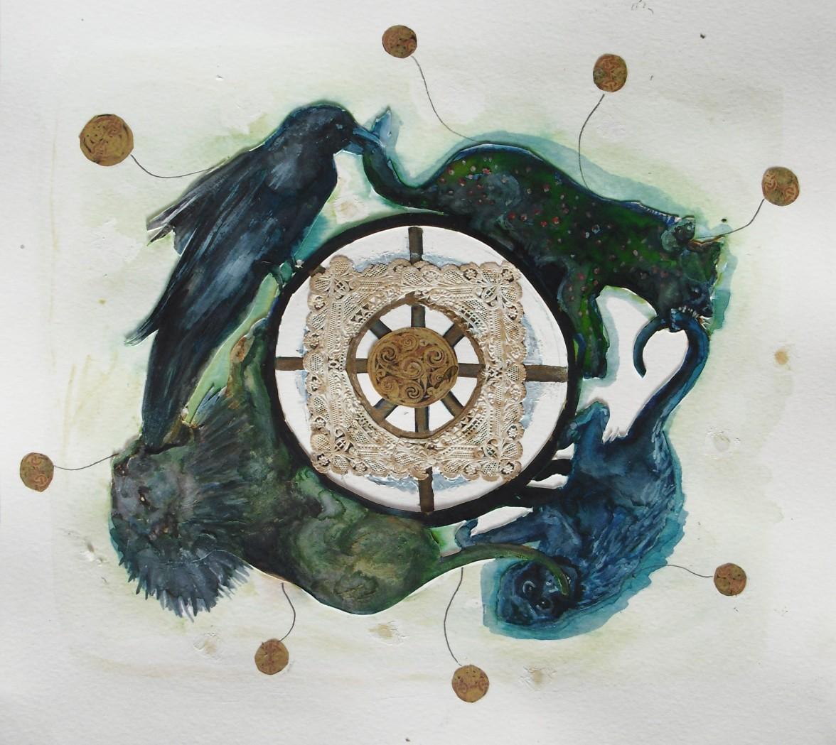 Cycle, techniques mixtes sur papier, 30x30 cm, 2011