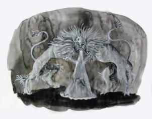 Fontaine, aquarelle et acrylique sur papier, 30x40 cm, 2011