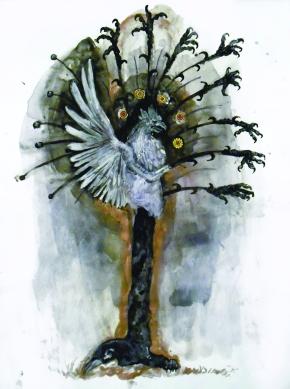 Griffon 1, aquarelle et collage sur papier, 40x30 cm, 2011 (Collection privée)