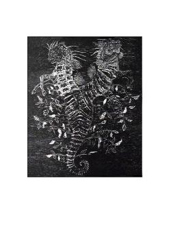 Hippocampes, gravure sur bois, 50x40 cm, 2013