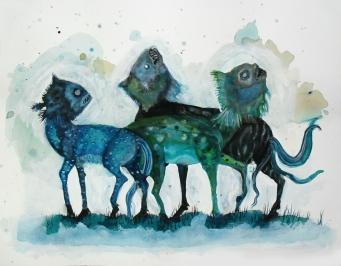 Hippo, techniques mixtes sur papier, 50x65 cm, 2011