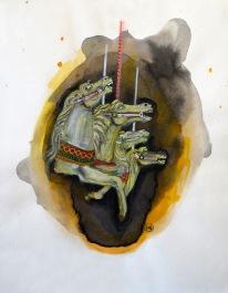 La cavalcade, encre, aquarelle et acrylique sur papier, 40x30 cm, 2012