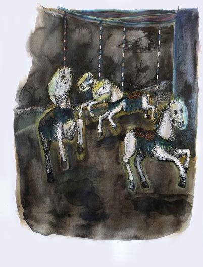 La cavalcade n°2, encre, aquarelle et acrylique sur papier, 40x30 cm, 2014