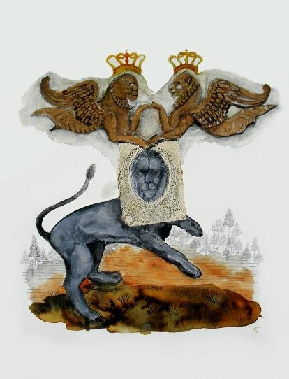 La couronne, technique mixte sur papier, 40x30 cm, 2012