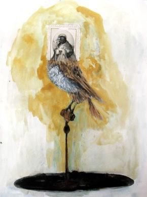 La reine, aquarelle et collage sur papier, 40x30 cm, 2011 (collection privée)