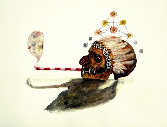 L'attrape rêve, techniques mixtes sur papier, 50x65 cm, 2013