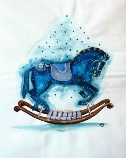 L'étoilé, encre, aquarelle et collage sur papier, 40x30 cm, 2012 (collection privée)