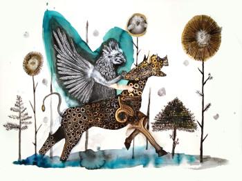 Le cavalier, techniques mixtes sur papier, 40x30 cm, 2012 (collection privée)