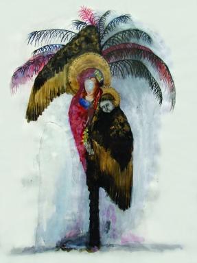 Le palmier, techniques mixtes sur papier, 50x65 m, 2011(collection privée)
