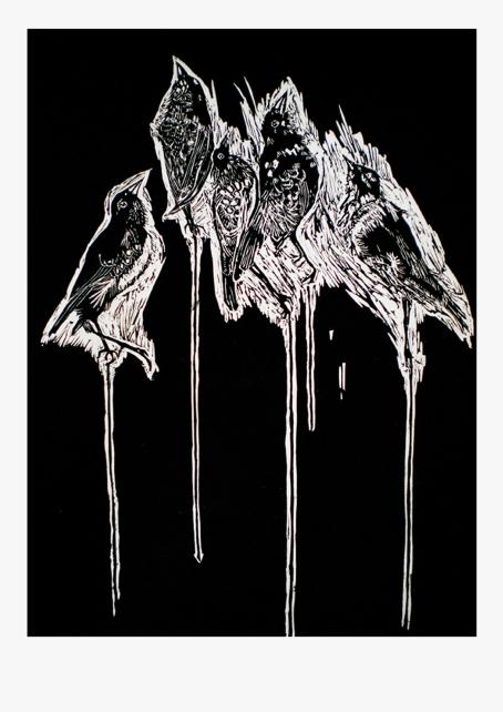 Les pinçons de Charles, linogravure sur papier japon, 65x49 cm,2010 (5 exemplaires)