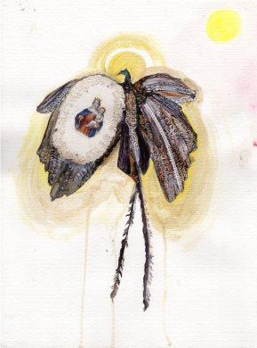 L'oiseau du paradis, aquarelle et collage sur papier, 40x30 cm, 2010