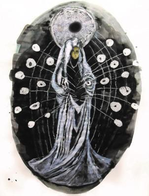 Céleste, techniques mixtes sur papier, 40x30 cm, 2012 (collection privée)