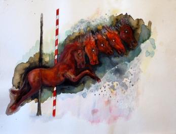 Manège aux chevaux, aquarelle, encre et acrylique sur papier, 30x40 cm, 2012