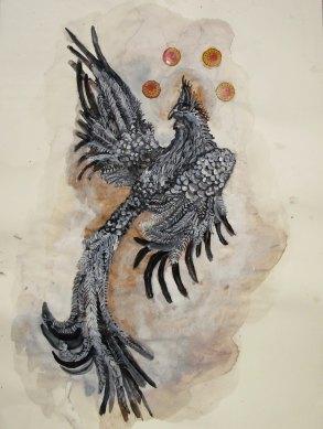 Oiseau de paradis 2, techniques mixtes sur papier, 40x30 cm, 2011