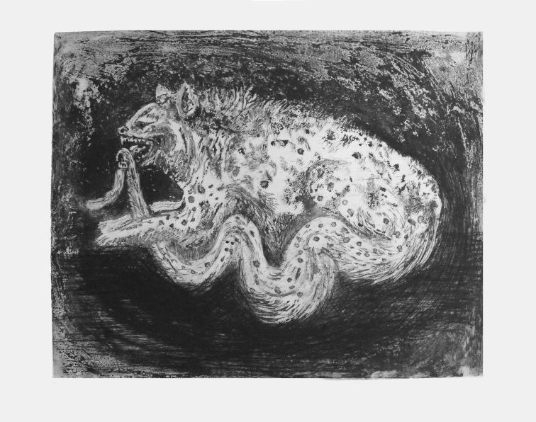 Ouroboros, aquatinte et pointe sèche sur zinc, 43x57 cm, 2011(10 exemplaires)