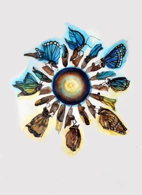 Schmetterling 2, techniques mixtes sur papier, 40x30 cm, 2013
