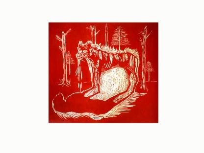 Un nouveau monde, linogravure sur papier japon, 49x65 cm, 2010 (5 exemplaires)