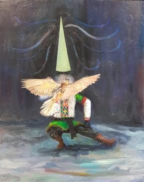 Magician, Huile sur toile, 50x40 cm, 2018