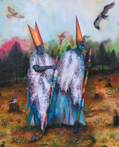 Pèlerins aux oiseaux, huile sur toile, 160x130 cm, 2016