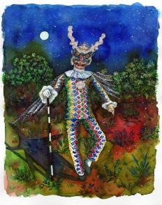 L'ange déchu, encre, aquarelle et collage sur papier, 30x24 cm, 2018