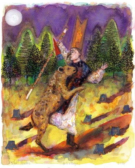 A l'attaque!, encre et aquarelle sur papier, 30x24 cm, 2016 (collection privée)