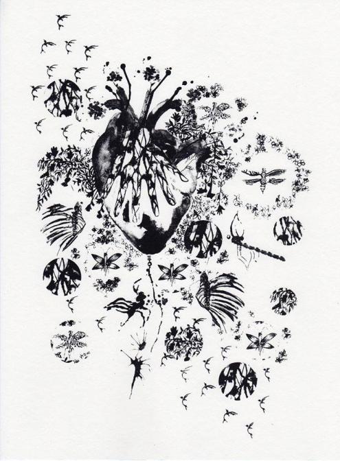 coeur de patience, sérigraphie sur papier, 40x30 cm, 2016 (50 exemplaires, numérotés et signées)
