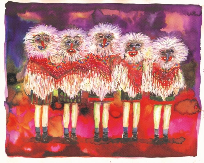 Fillettes (tribute to Charles Fréger), encre et aquarelle sur papier, 24x30 cm, 2015