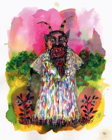 Krampus I, encre et aquarelle sur papier, 30x24 cm, 2016