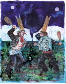 la baston (tribute to Goya), encre et aquarelle sur papier, 30x24 cm, 2015
