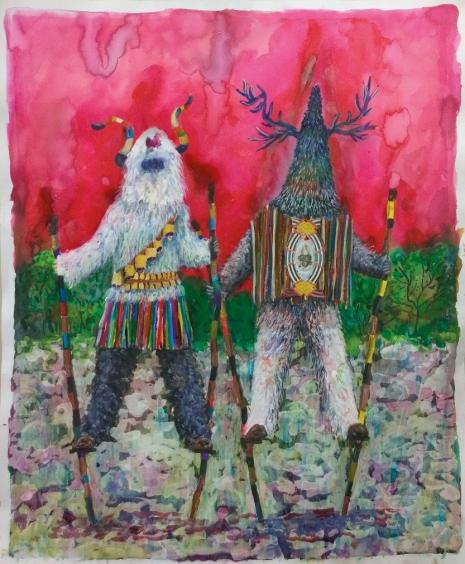 Les marcheurs, encre sur papier,60x40 cm, 2015