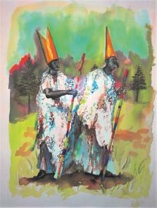 Les pélerins I, encre et aquarelle sur papier, 30x24 cm, 2015 (collection privée)