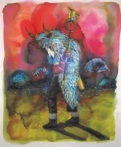 Les pélerins III, encre et aqaurelle sur papier, 30x24 cm, 2015 (Collection privée)