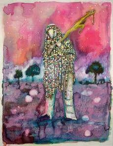 Les pélerins IV, encre et aqaurelle sur papier, 30x24 cm, 2015