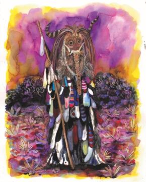 Les pèlerins XIV, encre et aquarelle sur papier, 30x24 cm, 2016