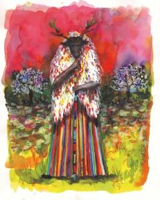 Pèlerin XV, encre et aquarelle sur papier, 30x24 cm, 2016