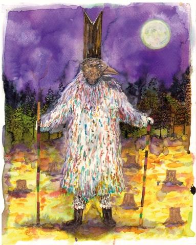 Pélerin XII, encre et aquarelle sur papier, 30x24 cm, 2016