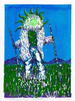 The walk IV, tampon et sérigraphie en 5 couleurs, 40x30 cm, 2016 ( 3 exemplaires)