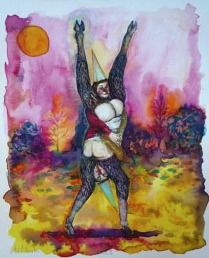 Faune II, encre et aquarelle sur papier, 30x24 cm, 2017
