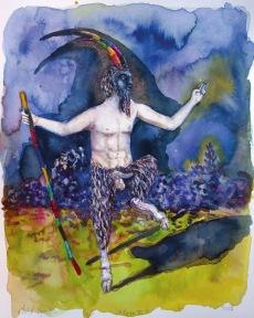 Faune III, encre et aquarelle sur papier, 30x24 cm, 2017 (collection privée)