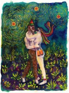 L'amour, techniques mixtes sur papier, 30x24 cm, 2018