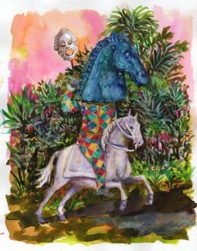 Tragédie, encre, aquarelle et collage sur papier, 30x24 cm, 2017