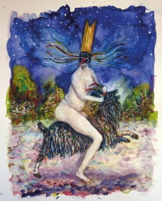 Witch II, encre et aquarelle sur papier, 30x24 cm, 2017 (collection privée)
