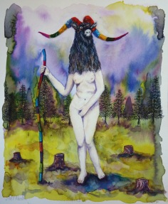 Witch III, encre et aquarelle sur papier, 30x24 cm, 2017 (collection privée)